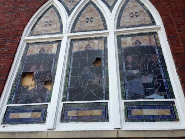 The windows were temporarily boarded up on the inside